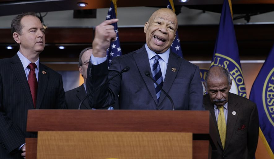 Rep. Elijah Cummings, D-Md., ranking member of the House Oversight and Government Reform Committee, flanked by Rep. Adam Schiff, D-Calif., ranking member of the House Intelligence Committee, left, and Rep. John Conyers, D-Mich., ranking member of the House Judiciary Committee, join other top House Democrats to say they want an investigation into President Donald Trump's relationship with Russia, including when Trump learned that his national security adviser, Michael Flynn, had discussed U.S. sanctions with a Russian diplomat, Tuesday, Feb. 14, 2017, during a news conference on Capitol Hill in Washington. (AP Photo/J. Scott Applewhite)