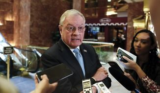Retired Lt. Gen. Keith Kellogg speaks to reporters at Trump Tower in New York, in this Nov. 15, 2016, file photo. President Donald Trump named Kellogg as the acting national security adviser Monday, Feb. 13, 2017, and a senior administration official said he was one of three candidates the president was considering to replace Flynn on a permanent basis. (AP Photo/Carolyn Kaster, File)