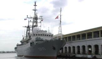 Russia's Victor Leonov CCB-175 docks in Havana's harbor in 2015. (CNBC screenshot) ** FILE **