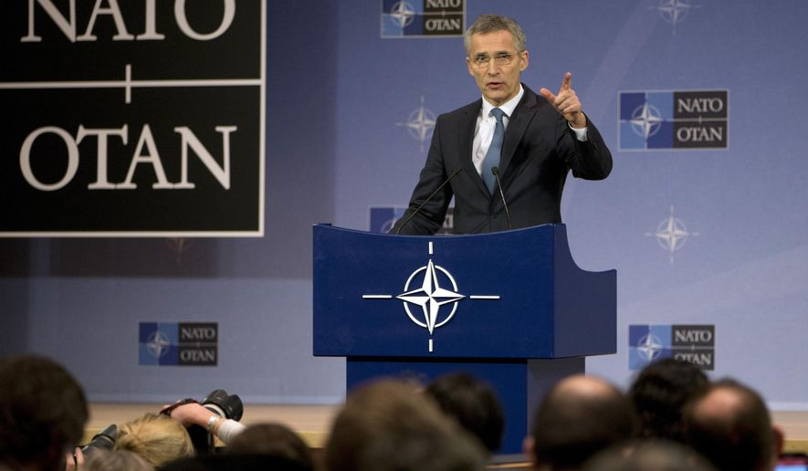 NATO Secretary General Jens Stoltenberg speaks during a media conference at NATO headquarters in Brussels on Tuesday, Feb. 14, 2017. NATO defense ministers will begin a two-day ministerial beginning on Wednesday. (AP Photo/Virginia Mayo)