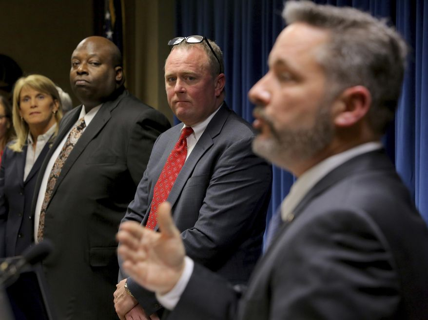 Little Rock FBI Special Agent in Charge Diane Upchurch, left, Little Rock Police Chief Kenton Buckner, second from left, and U.S. Attorney for the Eastern District of Arkansas Christopher Thyer listen as Jeffrey Reed, resident agent in charge of the ATF, right, speaks during a press conference in Little Rock, Ark. Tuesday Feb. 14, 2017 concerning progress made during the Violence Reduction Network initiative. (Stephen B. Thornton/The Northwest Arkansas Democrat-Gazette via AP)