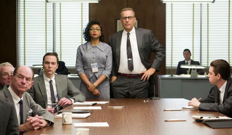 """This image released by Twentieth Century Fox shows Taraji P. Henson, standing left, and Kevin Costner, standing right, in a scene from, """"Hidden Figures."""" The film is nominated for an Oscar for best picture. (Hopper Stone/Twentieth Century Fox via AP)"""