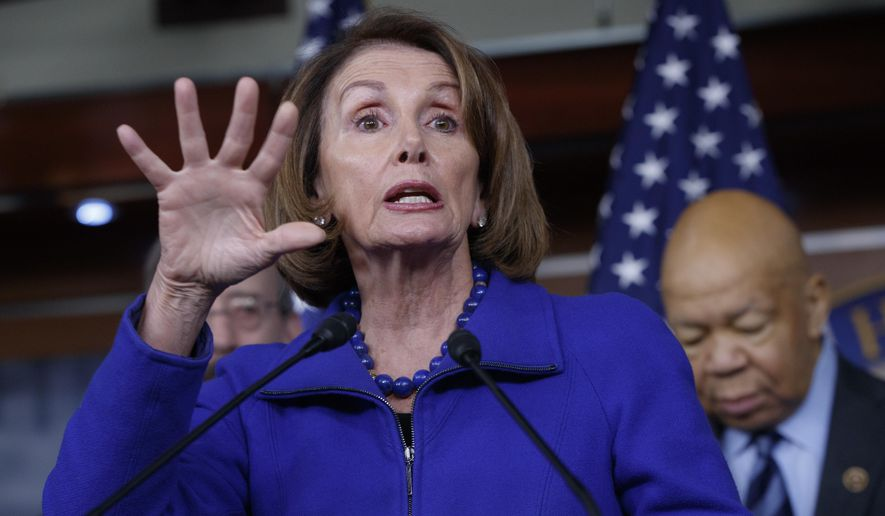 House Minority Leader Nancy Pelosi of Calif., joined at right by Rep. Elijah Cummings, D-Md., ranking member of the House Oversight and Government Reform Committee, speaks during a news conference on Capitol Hill in Washington, Tuesday, Feb. 14, 2017, calling for an investigation into President Donald Trump's relationship with Russia, including when Trump learned that his national security adviser, Michael Flynn, had discussed U.S. sanctions with a Russian diplomat. (AP Photo/J. Scott Applewhite) ** FILE **