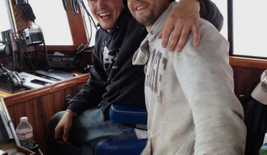 This 2014 photo provided by Dylan Hatfield shows Hatfield, left, and his brother Darrik Seibold in Sand Point, Alaska. Hatfield said his 36-year-old brother was one of six men missing and presumed drowned when a crabbing vessel Destination went missing Saturday, Feb. 11, 2017, near St. George, Alaska. (Courtesy of Dylan Hatfield via AP)