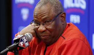 FILE - In this Oct. 13, 2016 file photo, Washington Nationals manager Dusty Baker listens to a question during a media availability before Game 5 of baseball's National League Division Series against the Los Angeles Dodgers, at Nationals Park in Washington. Baker began preparations for his second spring training as the Nationals' manager Tuesday, Feb. 14, 2017, when players began reporting to camp in West Palm Beach, Fla. (AP Photo/Alex Brandon, File)