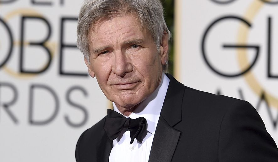 FILE - In this Jan. 10, 2016 file photo, Harrison Ford arrives at the 73rd annual Golden Globe Awards in Beverly Hills, Calif. NBC-TV says Ford had a potentially serious run-in with an airliner at a Southern California airport. NBC reports that Ford, an experienced pilot, was told to land on a runway at John Wayne Airport in Orange County on Monday, Feb. 13, 2017, but mistakenly landed on a parallel taxiway, passing over an American Airlines jet holding nearby. (Photo by Jordan Strauss/Invision/AP, File)