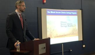 In this photo provided by Maria Zamudio, taken Feb. 9, 2017, Illinois Treasurer Michael Frerichs talks to small business owners about Secure Choice IRA, a state-sponsored retirement savings plan, in Schaumburg, Ill. States are moving forward with new initiatives to help workers save for retirement, even as the Republican-led Congress tries to block rules making it easier for them to do so.  (Maria Zamudio via AP)