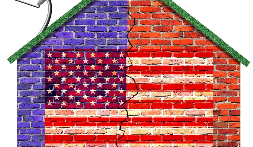 Illustration on the politically divided society by Alexander Hunter/The Washington Times
