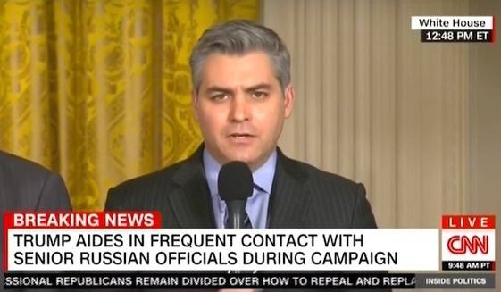 """CNN reporter Jim Acosta told Wolf Blitzer on Feb. 15, 2017, that """"the fix is in"""" between the White House and conservative media outlets at press briefings. (CNN screenshot)"""