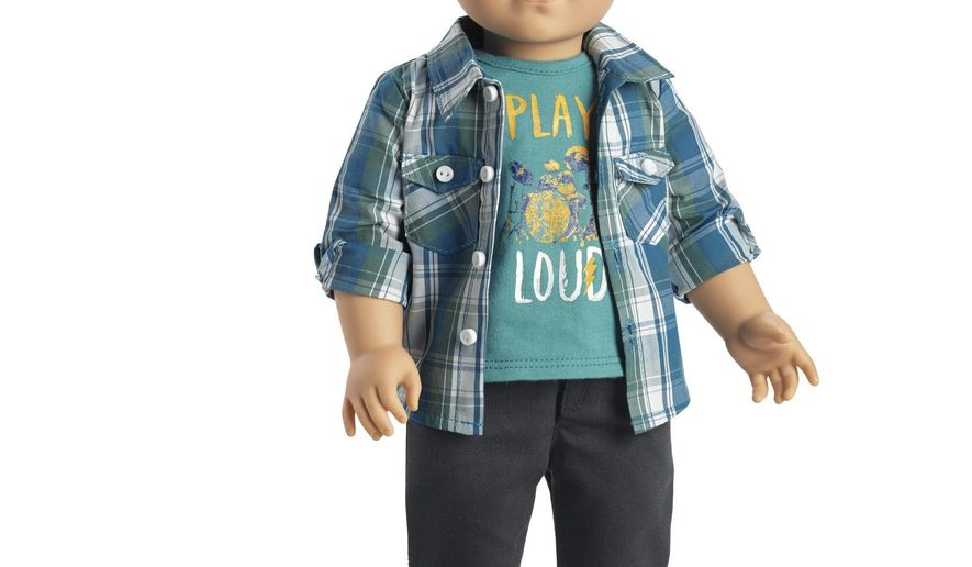 """In this undated product image courtesy of American Girl shows the doll called """"Logan Everett."""" For the first time in its more than 30-year history, American Girl will sell a boy version of its pricey dolls. The 18-inch """"Logan Everett"""" doll will go on sale this week. (American Girl via AP)"""