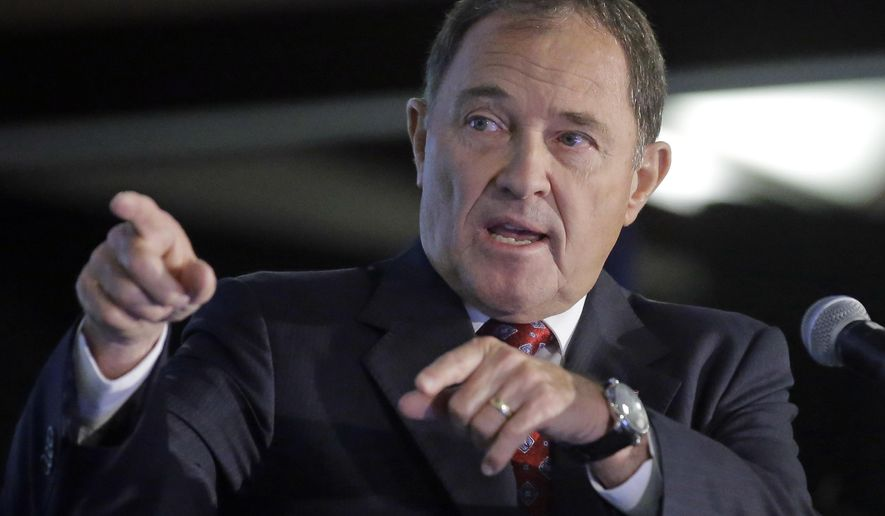FILE - This Sept. 16, 2016, file photo, Republican Gov. Gary Herbert speaks at his first debate with Democratic challenger Mike Weinholtz, in Salt Lake City. Herbert said during an interview with The Associated Press Wednesday, Feb. 15, 2017, that he supports a proposal to eliminate the U.S. Department of Education and he hopes to use his trip to Washington next week to discuss states' authority and the new Bears Ears National Monument with President Donald Trump's administration. (AP Photo/Rick Bowmer, File)