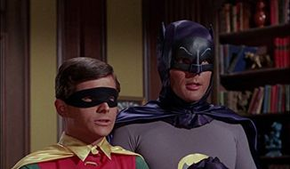 "Adam West and Burt Ward depicted here as Batman and Robin in the 1960s TV series ""Batman."" (IMDb.com)"