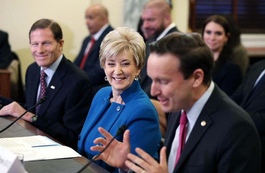 In this Jan. 24, 2017, file photo, Sen. Chris Murphy, D-Conn., right, introduces former wrestling entertainment executive Linda McMahon, center, at her confirmation hearing before the Senate Small Business and Entrepreneurship Committee on Capitol Hill in Washington. At left is Sen. Richard Blumenthal, D-Conn. The two senators she competed against in previous bitter campaigns and Democratic Gov. Dannel P. Malloy are complementing McMahon, the new administrator of the Small Business Administration, sworn in Tuesday, Feb. 14, 2017. (AP Photo/Alex Brandon, File)