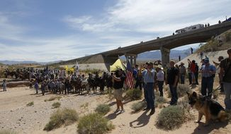 """FILE - In this April 12, 2014, file photo, the Bundy family and their supporters gather together under the Interstate 15 highway overpass just outside of Bunkerville, Nev., in order to confront the Bureau of Land Management and demand the release of their impounded cattle. A federal agent testified in Las Vegas, Nev., Wednesday, Feb. 15, 2017, that he saw a """"sniper"""" on a freeway overpass pointing a military-style weapon at him while a crowd of protesters gathered in a dry river bed calling for the government to release Nevada rancher Cliven Bundy's cattle. (Jason Bean/Las Vegas Review-Journal via AP, File)"""