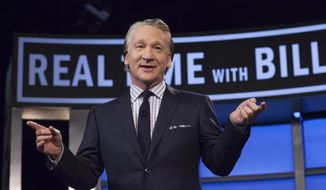 "Bill Maher, host of HBO's ""Real Time with Bill Maher,"" speaks during a broadcast of the show in Los Angeles, This April 8, 2016. (Janet Van Ham/HBO via AP)"