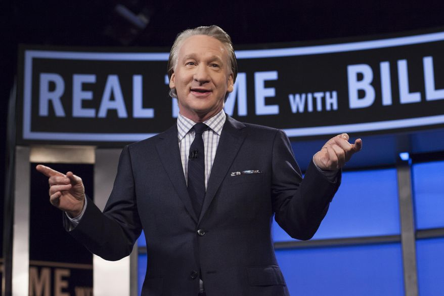 "Bill Maher, host of HBO's ""Real Time with Bill Maher,"" speaks during a broadcast of the show in Los Angeles. (Janet Van Ham/HBO via AP)"