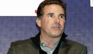 "In this Dec. 5, 2016, file photo, Under Armour Chief Executive Officer and founder Kevin Plank speaks on stage during an Under Armour announcement event at Major League Baseball's winter meetings in Oxon Hill, Md. The CEO of Baltimore-based sports apparel company Under Armour is responding to criticism he received after calling President Donald Trump ""an asset to the country."" Plank wrote an open letter to Baltimore published as a full-page advertisement in The Baltimore Sun Wednesday, Feb. 15, 2017. (AP Photo/Alex Brandon, File)"