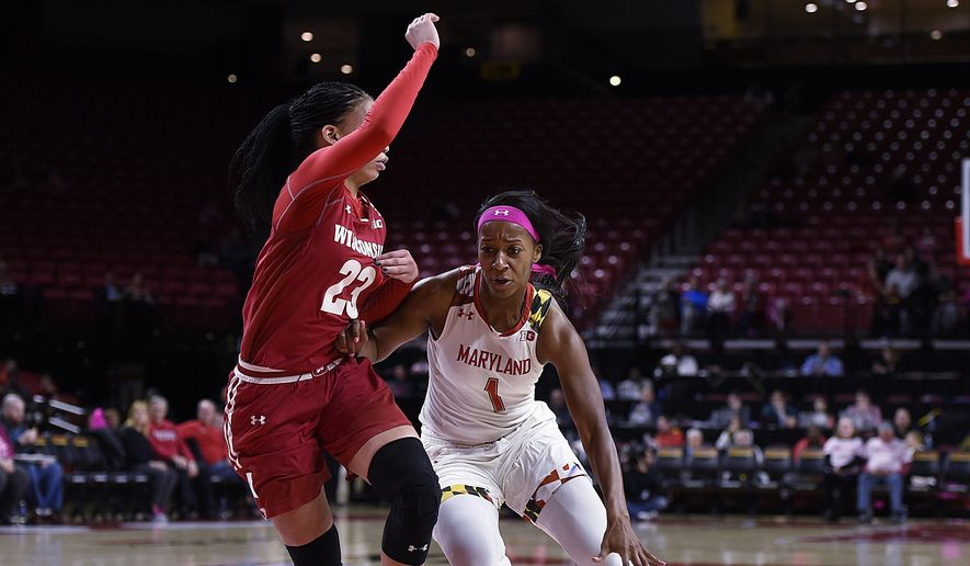 Maryland's Ieshia Small, right, drives to the basket as Wisconsin's Cayla McMorris defends during the first half of an NCAA college basketball game, Wednesday, Feb. 15, 2017, in College Park, Md. (AP Photo/Gail Burton) **FILE**