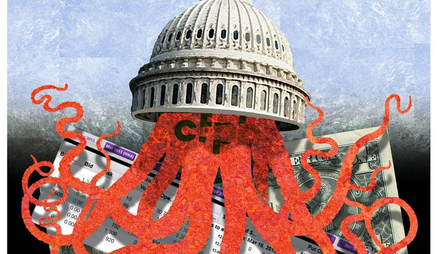 Illustration on the CFBP by Alexander Hunter/The Washington Times