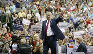 President Trump visits an airplane hangar in Melbourne, Florida for a rally on Saturday, five months after his rally there drew 8,500 people. (ASSOCIATED PRESS)