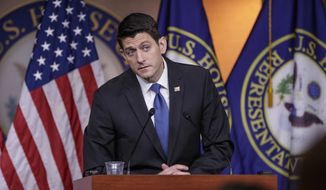 House Speaker Paul Ryan of Wis. meets with reporters on Capitol Hill in Washington, Thursday, Feb. 16, 2017. (AP Photo/J. Scott Applewhite) **FILE**