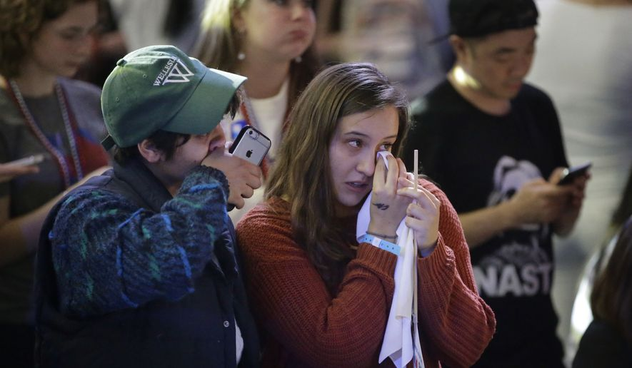 Wellesley College students and supporters of Hillary Clinton Kumari Devarajan, of Washington, left, and Diana Castillo, of Elgin, Ill,, right, wipe away tears as they watch televised election returns during a watch party on the campus of Wellesley College, Tuesday, Nov. 8, 2016, in Wellesley, Mass. Clinton graduated from Wellesley College in 1969. (AP Photo/Steven Senne)