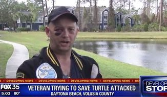 Three suspects were arrested in Florida Tuesday for attacking Gary Blough, a disabled Navy veteran who tried to stop them from torturing a turtle, police said. (FOX 35)