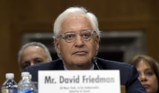 David Friedman, nominated to be U.S. Ambassador to Israel, testifies on Capitol Hill in Washington, Thursday, Feb. 16, 2017, at his confirmation hearing before the Senate Foreign Relations Committee. (AP Photo/Susan Walsh) ** FILE **