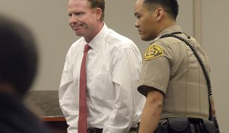 Imprisoned Utah businessman Jeremy Johnson is lead out of the courtroom during John Swallow's trial Wednesday, Feb. 15, 2017, in Salt Lake City. He was found in contempt of court. Johnson, who was expected to be a key witness at a corruption trial for the former state attorney general is being held in contempt of court after he refused to testify. (Al Hartmann/The Salt Lake Tribune, via AP, Pool)