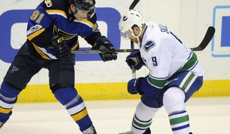 St. Louis Blues' Vladimir Tarasenko (91), of Russia, and Vancouver Canucks' Jack Skille (9) reach for the puck during the second period of an NHL hockey game, Thursday, Feb. 16, 2017, in St. Louis. (AP Photo/Bill Boyce)