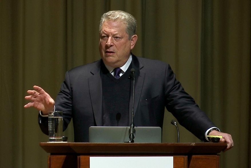 Former Vice President Al Gore, the founder and chairman of The Climate Reality Project, opens the Climate & Health Meeting at The Carter Center in Atlanta on Thursday, Feb. 16, 2017. (AP Photo/Alex Sanz) ** FILE **