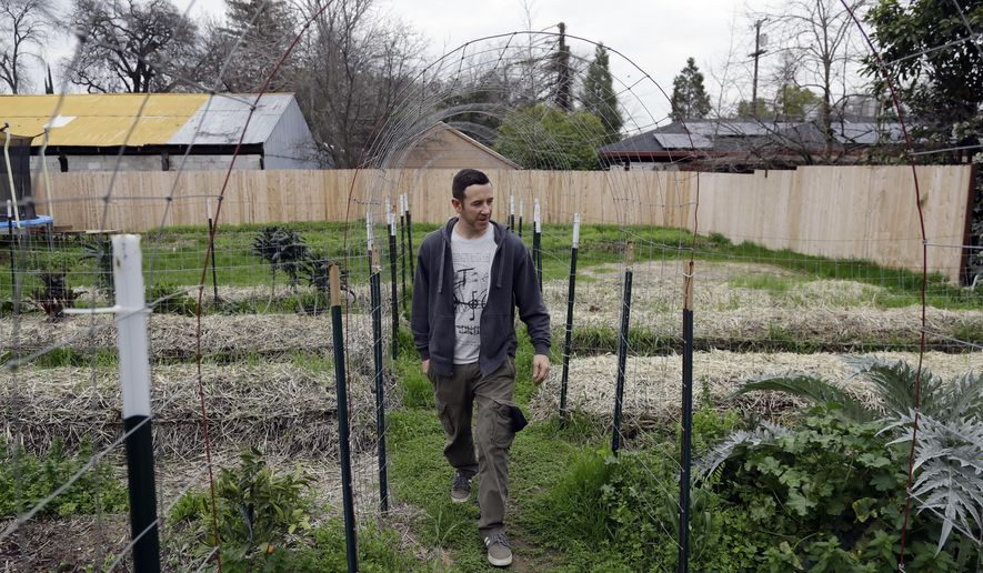 Matthew Prumm walks in his garden shortly before evacuating Wednesday, Feb. 15, 2017, in Oroville, Calif. Many Oroville residents returned home to pack an emergency bag, fill their cars with family valuables and leave. Authorities say the immediate danger has passed and allowed people living downstream of the Oroville Dam to go back home Tuesday after ordering an evacuation Sunday. (AP Photo/Marcio Jose Sanchez)