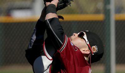 Arizona Diamondbacks' Chris Hermann makes a catch during spring training baseball workouts, Thursday, Feb. 16, 2017, in Scottsdale, Ariz. (AP Photo/Matt York)
