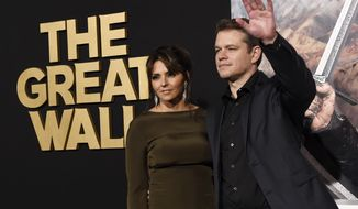 "Matt Damon, a cast member in ""The Great Wall,"" poses with his wife Luciana Barroso at the premiere of the film at the TCL Chinese Theatre on Wednesday, Feb. 15, 2017, in Los Angeles. (Photo by Chris Pizzello/Invision/AP)"