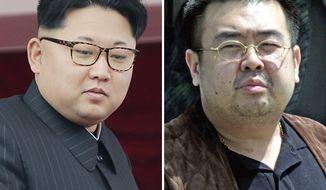 This combination of file photos shows North Korean leader Kim Jong-un, left, on May 10, 2016, in Pyongyang, North Korea, and Kim Jong-nam, right, exiled half brother of Kim Jong-un, in Narita, Japan, on May 4, 2001. (AP Photos/Wong Maye-E, Shizuo Kambayashi, File)