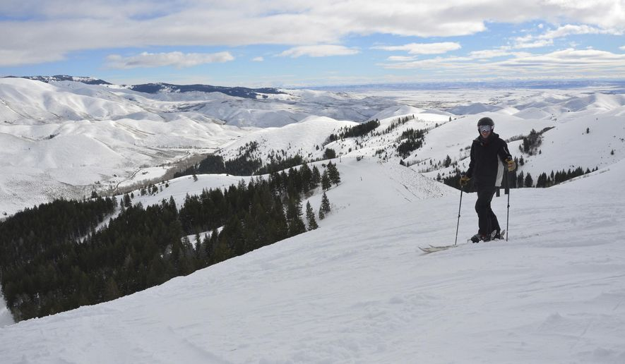 ADVANCE FOR WEEKEND EDITIONS, FEB. 18-19 - FILE - In this Feb. 7, 2013, file photo, skier Will Varin stands on a slope at Soldier Mountain in Fairfield, Idaho. A couple from Bend, Ore., reached a deal to purchase historic, remote Soldier Mountain Ski Area in November 2015. (Roger Phillip/Idaho Statesman via AP, File)