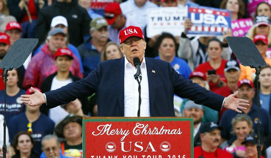 In this Dec. 17, 2016, file photo, then-President-elect Donald Trump speaks during a rally at the Ladd–Peebles Stadium in Mobile, Ala. (AP Photo/Brynn Anderson, File)