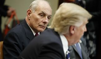 Homeland Security Secretary John Kelly (right) listens as President Donald Trump speaks during a meeting on cyber security in the Roosevelt Room of the White House in Washington on Jan. 31, 2017. (Associated Press) **FILE**