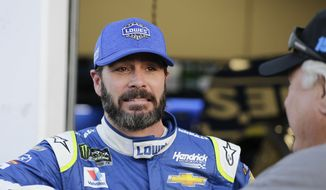 Jimmie Johnson, left, talks with a team member outside his garage during a practice session for the Clash NASCAR auto race at Daytona International Speedway, Friday, Feb. 17, 2017, in Daytona Beach, Fla. (AP Photo/Terry Renna) **FILE**