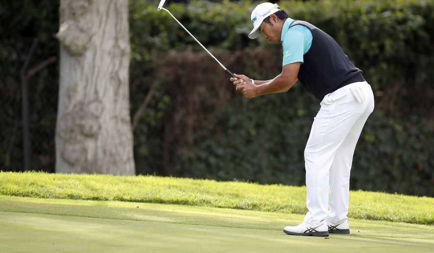 Hideki Matsuyama, of Japan, reacts after missing a putt on the sixth hole during the first round of the Genesis Open golf tournament at Riviera Country Club, Thursday, Feb. 16, 2017, in the Pacific Palisades area of Los Angeles. (AP Photo/Ryan Kang)