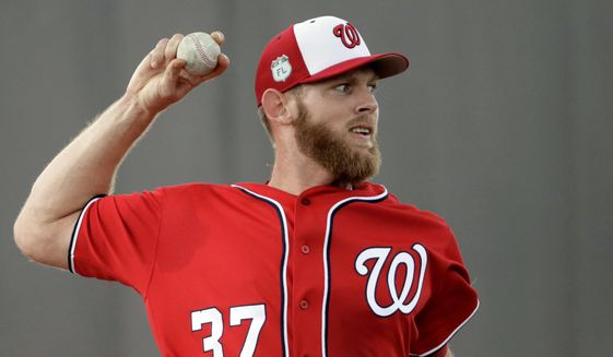 Washington Nationals pitcher Stephen Strasburg throws during a spring training baseball workout Thursday, Feb. 16, 2017, in West Palm Beach, Fla. (AP Photo/David J. Phillip)