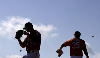 Baltimore Orioles pitchers Zach Britton, left, and Brad Brach stand on the mound in the bullpen during a baseball spring training workout in Sarasota, Fla., Wednesday, Feb. 15, 2017. (AP Photo/David Goldman)