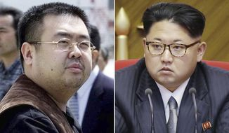 FILE - This combination of file photos shows Kim Jong Nam, left, the estranged half-brother of North Korean leader Kim Jong Un, in Narita, Japan, on May 4, 2001, and North Korean leader Kim Jong Un on May 9, 2016, in Pyongyang. Speculation that Kim Jong Nam was killed by two young female agents at the busy Kuala Lumpur airport last week left even the most seasoned toxicology sleuths shaking their heads. If a chemical agent really was to blame, finding it may be the hardest part of all. (AP Photos/Shizuo Kambayashi, Wong Maye-E, File)