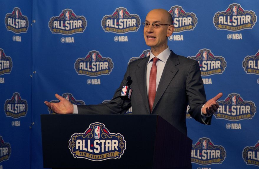 NBA Commissioner Adam Silver arrives at a press conference before NBA All-Star Saturday Night events in New Orleans, La., Saturday, Feb. 18, 2017. (AP Photo/Max Becherer) **FILE**