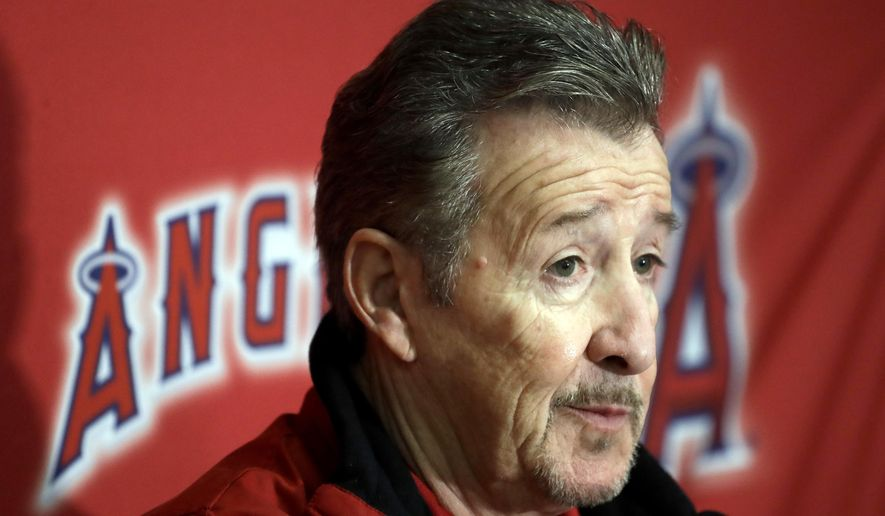 Los Angeles Angels owner Arte Moreno speaks during a news conference at spring baseball practice in Tempe, Ariz., Saturday, Feb. 18, 2017. (AP Photo/Chris Carlson)