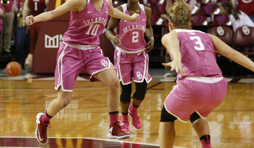 Oklahoma's Peyton Little (10) and Derica Wyatt (3) celebrate as time expires  in their 74-73 win over No. 8 Texas in an NCAA college basketball at The Lloyd Noble Center, Saturday, Feb. 18, 2017 in Norman, Okla. (Steve Sisney/The Oklahoman via AP)