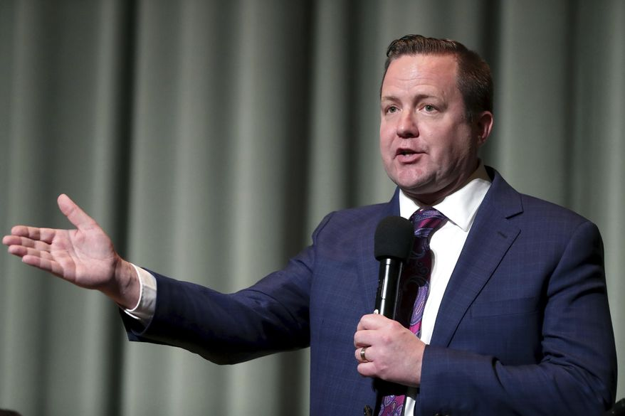 Corey Stewart speaks during the Millennial Advocacy Council PAC and NextGen GOP statewide candidate debate Saturday, Feb. 18, 2017, in Charlottesville, Va. (Ryan M. Kelly/The Daily Progress via AP) ** FILE **