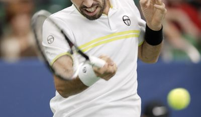 Mikhail Kukushkin, of Kazakhstan, returns a shot to Nikoloz Basilashvili in a semifinal at the Memphis Open tennis tournament, Saturday, Feb. 18, 2017, in Memphis, Tenn. (AP Photo/Mark Humphrey)