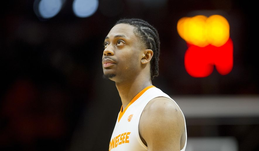 Tennessee's Robert Hubbs III (3) looks on during an NCAA college basketball game against Missouri at Thompson-Boling Arena in Knoxville, Tenn., on Saturday, Feb 18, 2017. Tennessee won 90-70. (Calvin Mattheis/Knoxville News Sentinel via AP)