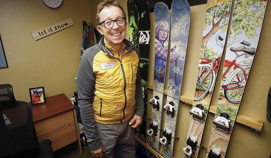ADVANCE FOR USE SATURDAY, FEB. 18 - In this Friday, Feb. 10, 2017 photo, Greg Ralph, vice president of sales and marketing at Purgatory Resort, talks about some of his favorite skis on that are in his office at the ski resort in Durango, Colo.  Ralph, who averages 80 ski days a year, has skied at nearly all resorts in six states: Colorado, California, Nevada, Idaho, Wyoming and New Mexico, as well as major resorts in Canada. (Jerry McBride/The Durango Herald via AP)